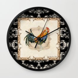 Kitchen Cubalaya Rooster Watercolor Damask Vintage Style Wall Clock