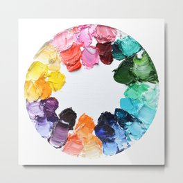 Color Wheel Polka Daubs Metal Print