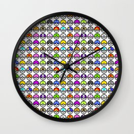 Pokeballs Pixel Wall Clock