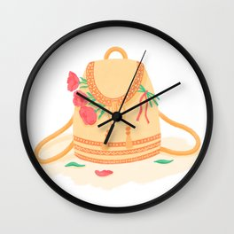Orange schoolbag in boho style with bright pink peonies Wall Clock