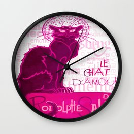 Le Chat D'Amour In Pink With Words of Love Vector Wall Clock
