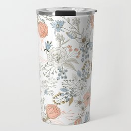 Abstract modern coral white pastel rustic floral Travel Mug