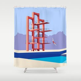 Soviet Modernism: Diving tower in Etchmiadzin, Armenia Shower Curtain