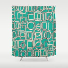 picture frames aplenty indigo jade Shower Curtain