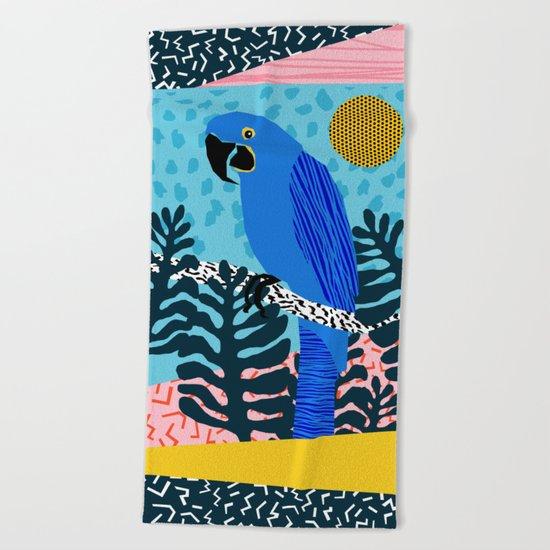 Steaz - memphis throwback tropical retro minimal bird art 1980s 80s style pattern parrot fashion Beach Towel