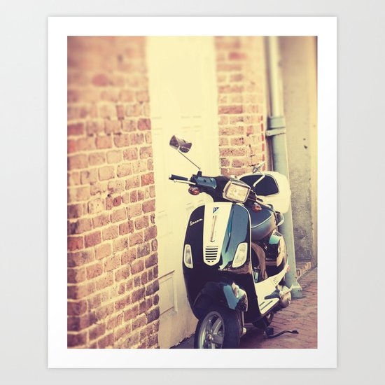 Black and White Vespa Art Print