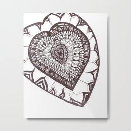 Henna Red/Brown Heart Metal Print