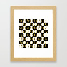 Chessboard and Gold Chess Pieces pattern Framed Art Print