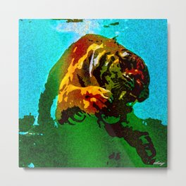 Tiger Swimming Metal Print
