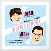 justice league Art Prints featuring Dean Strang & Jerry Butin - Wisconsin Justice League by Kodiak Milly