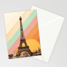 Rainbow Sky Above The Eiffel Tower Stationery Cards