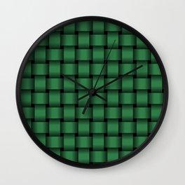 Dark Green Weave Wall Clock