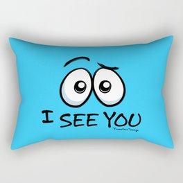 I See You - Cool Blue Rectangular Pillow