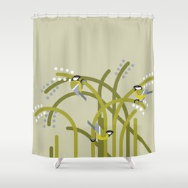 Three Great Tits vector illustration Shower Curtain