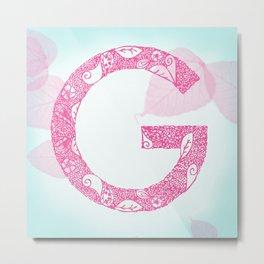 Floral Letter 'G' Metal Print