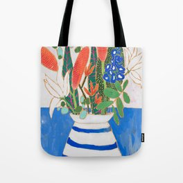 Nautical Striped Vase of Flowers Tote Bag