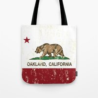 oakland Tote Bags featuring Oakland California Republic Flag Distressed  by NorCal