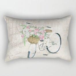 Vintage bicycles with roses basket Rectangular Pillow