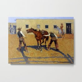 """Frederic Remington Western Art """"His First Lesson"""" Metal Print"""