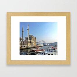 Mosque and Bridge, Istanbul Turkey Framed Art Print