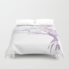 Quiet Acacia Zen Tree , Earthy African Bonsai Peace Lavendar Purple Duvet Cover