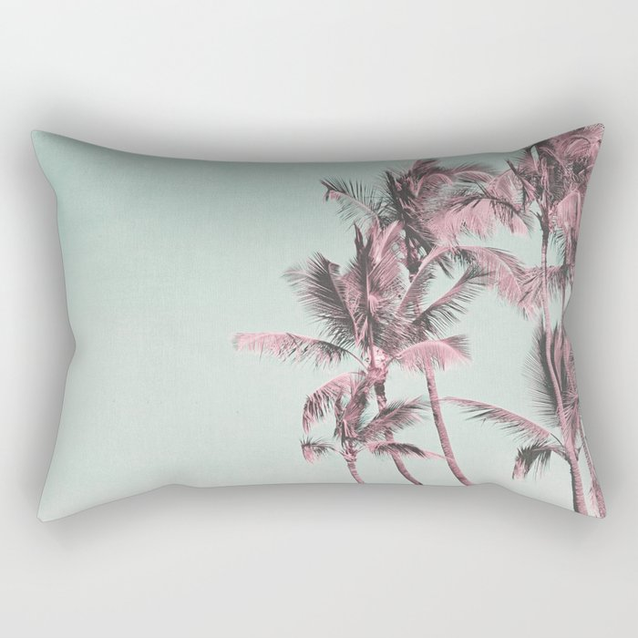 Tropical Palm Trees In Surreal Pink Rectangular Pillow