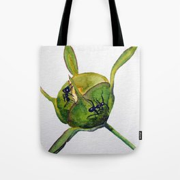 Ants on a Hosta bud Tote Bag