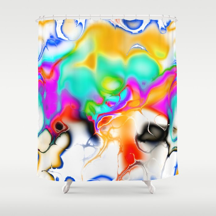 Vivid bright fractal 1 Shower Curtain