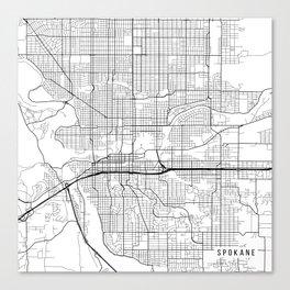 Spokane Map, USA - Black and White Canvas Print