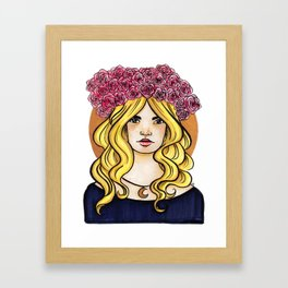 Crown of Roses Marker Drawing by Grimmiechan Framed Art Print