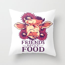 friendship with cows Throw Pillow