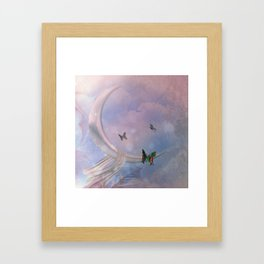 The wonderful moon with butterflies Framed Art Print