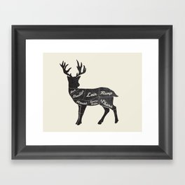 Venison Butcher Diagram-Deer Framed Art Print