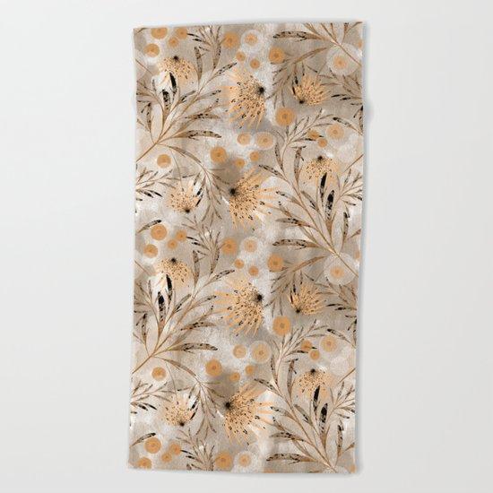 Beige floral pattern. Beach Towel