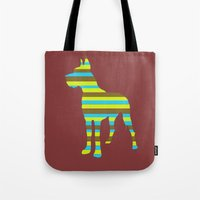 great dane Tote Bags featuring Great Dane Stripes by Whimsy Notions Designs