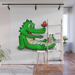Crocodile and red bird Wall Mural