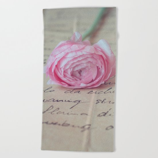 Love Letter With Ranunculus Beach Towel