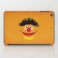 sesame street iPad Cases featuring Sesame Street Vintage Nursery Art Ernie Retro Style Minimalist Poster Print by The Retro Inc