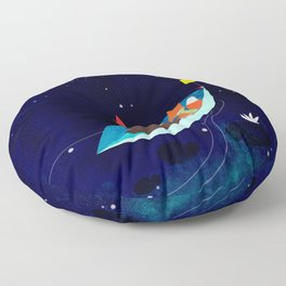 take a ride with my Paper boat Floor Pillow