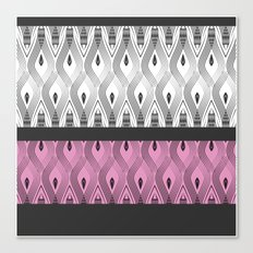Art Deco 55 . White black and pink textures . Canvas Print