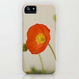 Orange Poppy Bloom Red Green Yellow Flower iPhone Case