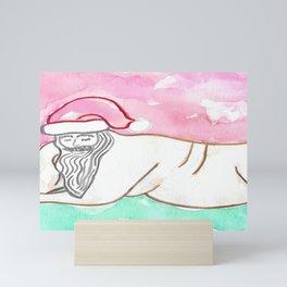 SEXY SANTA NUDE chubby Santas Christmas gifts presents gay male erotica holiday naked man watercolor paintings stickykitties Mini Art Print