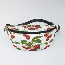 Vintage Botanical Cherries Print on White Fanny Pack