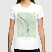 portland T-shirts featuring Portland Map Blue Vintage by City Art Posters