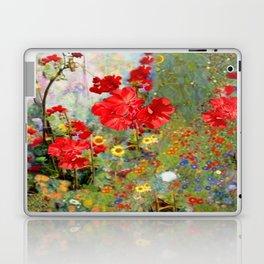Red Geraniums in Spring Garden Landscape Painting Laptop & iPad Skin
