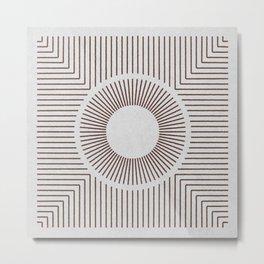SUN IN A BOX BROWN ON WHITE Metal Print