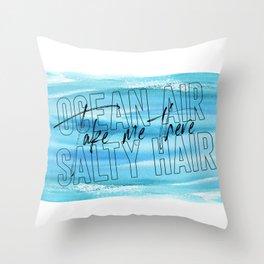 Ocean Air Take Me There Salty Hair, Girls Room, Printable Art, Beach Print Throw Pillow