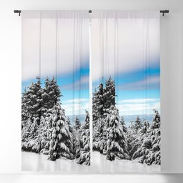 Winter Woods VII - Snow Capped Forest Adventure Nature Photography Blackout Curtain
