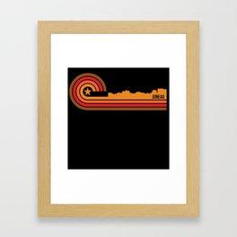 Retro Style Juneau Alaska Skyline Framed Art Print