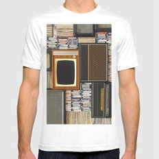 techno vintage MEDIUM Mens Fitted Tee White